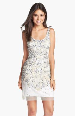 Adrianna Papell  - Embellished Mesh Tank Dress