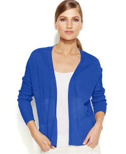 Vince Camuto - Long-Sleeve Mesh-Panel Cardigan