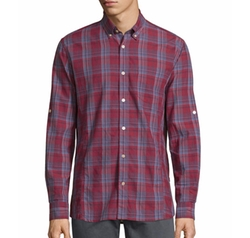 John Varvatos Star USA - Plaid Roll-Tab Sleeve Sport Shirt