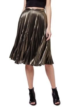 Topshop  - Metallic Pleated Midi Skirt