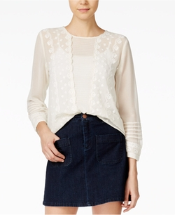 Maison Jules  - Embroidered Peasant Top