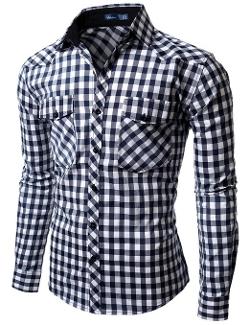 Doublju - Mens Gingham Check Shirt