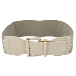 Allegra K - Beige Stretchy Cinch Belt