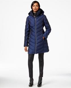 Calvin Klein - A-Line Chevron Puffer Coat