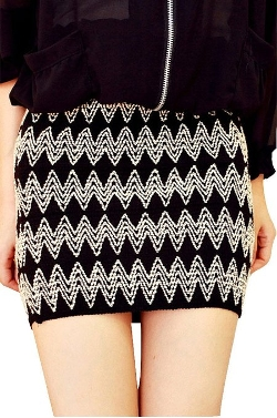 Dear-Lover - Embroidery Knit Wave Mini Skirt