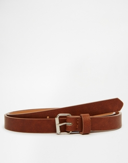 Asos  - Skinny Belt In Tan Faux Leather