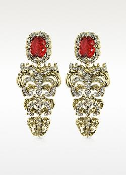 Roberto Cavalli  - Lady Mamba Gold Ring Renaissance Light Gold Tone Metal And Ruby Clip On Earrings
