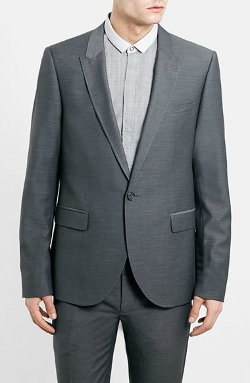 Topman  - Skinny Fit Dobby Suit Jacket