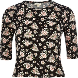 River Island - Floral Print Fitted Cropped T-Shirt