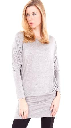 Clothes Effect  - Ladies Large Dolman Tapered Sleeves Hip Bandeau Tunic Top