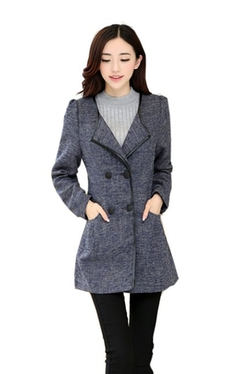 Caflin - Double Breasted Collarless Slim Fit Trench Coat