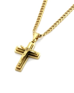 L & L Nation - Plated Stainless Steel Mini God Cross Pendant Necklace