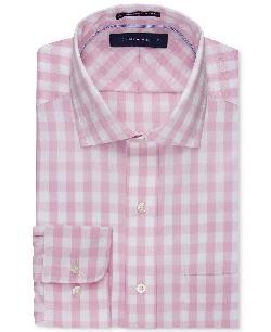 Tommy Hilfiger  - No Iron Pink and White Bold Check Dress Shirt