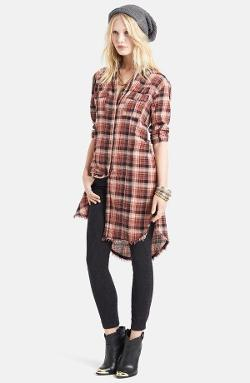 Free People  - Washed Red Black Combo Plaid Tunic Dress