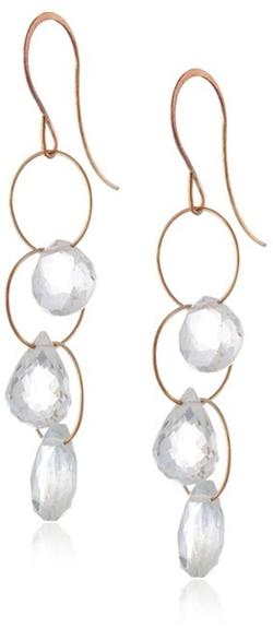 Melissa Joy Manning - 14k Gold Short With White Topaz Triple Drop Earrings