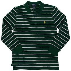 Polo Ralph Lauren  - Boys Long Sleeve Mesh Striped Polo Shirt