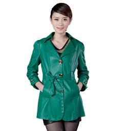 Ali Express - 2013 Autumn Female Outdoor Leather Trenchcoat