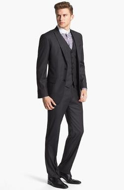 John Varvatos Star USA  - Trim Fit Three-Piece Wool Suit
