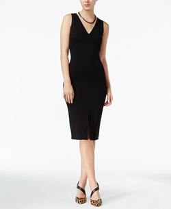 Bar III - V-Neck Sheath Dress