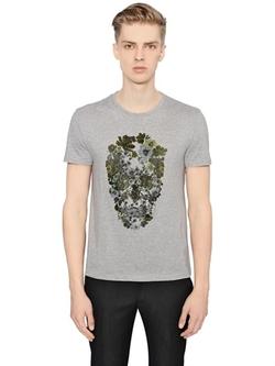 Alexander McQueen - Floral Skull Printed Cotton T-Shirt