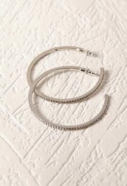 Forever21 - Rhinestoned Hoop Earrings