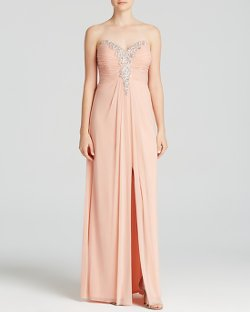 Decode  - Strapless Sweetheart Neck Embellished Gown