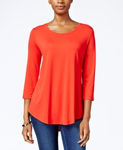 JM Collection  - Three-Quarter-Sleeve Scoop-Neck Top