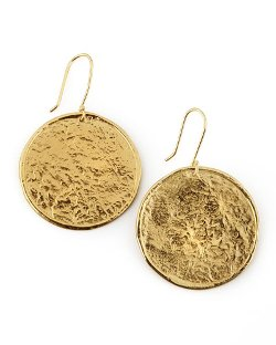 Nest Jewelry   - Hammered Gold-Plate Medallion Earrings