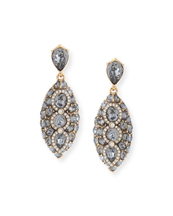 Oscar De La Renta - Navette Crystal Drop Clip Earrings