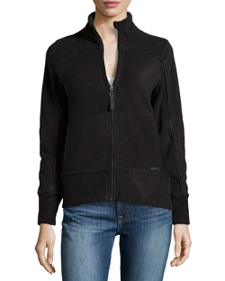 Marc NY Performance - Leather-Trimmed Polar Fleece Jacket