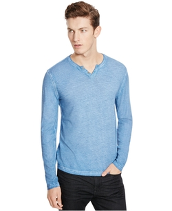 Kenneth Cole New York  - Long-Sleeve Washed Henley Shirt