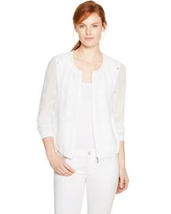White House Black Market - Long Sleeve Embroidered White Bomber Jacket