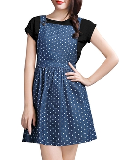 Allegra K - Denim Overall Dress
