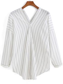 Romwe - V Neck Vertical Striped Blouse