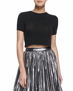 Alice + Olivia - Short-Sleeve Crewneck Crop Top