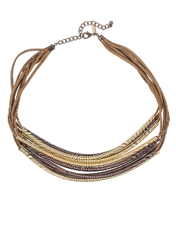 Kenneth Jay Lane - Multi-Row Leather And Coil Frontal Necklace