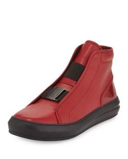 Salvatore Ferragamo  - Ground Buckle-Front Calfskin High-Top Sneakers