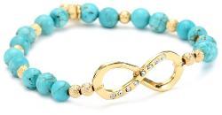 Blee Inara  - Glass Bead Stretchy Bracelet with Swarovski Infinity Charm Turquoise
