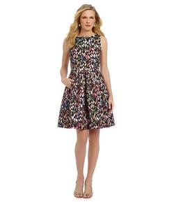 Tahari ASL  - Floral Jacquard Fit-and-Flare Dress
