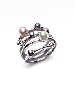 Majorica - Multicolor Round Pearl & Sterling Silver Endless Wrap Ring