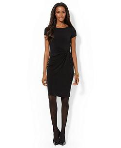 Ralph Lauren  - Cap-Sleeve Knotted Jersey Dress