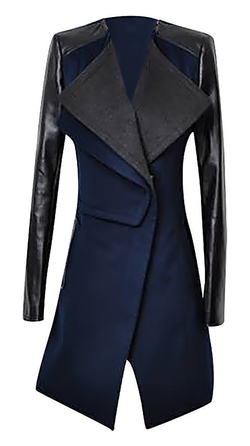 Allegra - PU Leather Mid Length Trench Coat
