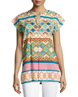Johnny Was  - Mixed-Print V-Neck Blouse