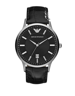Emporio Armani  - Silvertone And Embossed Leather Watch