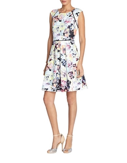 Tahari  -  Arthur S. Levine Floral-Print Fit And Flare Dress