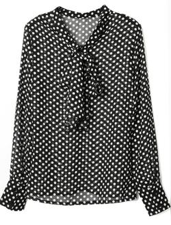 Uxcell - Stand Collar Dots Pattern Tie-bow Back Chiffon Blouse