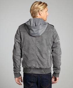 X-RAY JEANS  - Grey Distressed Cotton Cotton Drawstring Hooded Cargo Jacket