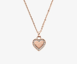 Michael Kors - Pavé Rose Gold-Tone Heart Charm Necklace