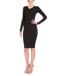Victoria Beckham - Long-Sleeve Ribbed Sheath Dress