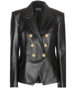 Balmain - Leather Double-Breasted Blazer